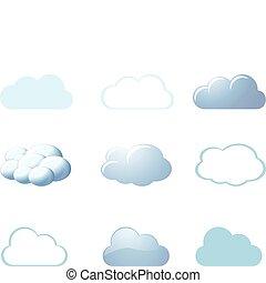 -, tempo, nuvens, ícones