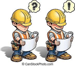 -, trabalhador construção, plano, leitura