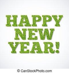 -, verde, ano, novo, capim, cartão, feliz