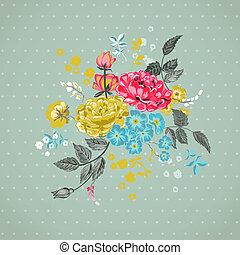-, vetorial, fundo, floral, scrapbook, desenho