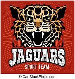 -, vetorial, onça pintada, panther., fundo, desporto, shadow., gato, ilustração, vermelho, equipe, selvagem