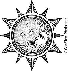 -, vetorial, stylized, gravura, estrelas, lua, ilustração