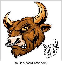 -, vetorial, touro, ilustração, mascote, cabeça