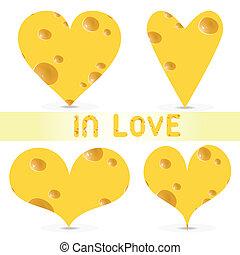 -, vetorial, valentines, jogo, dia, queijo