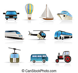-, viagem, v, transporte, ícones
