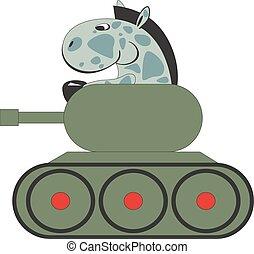 011, cavalo, tanque, caricatura