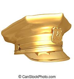 02, dourado, boné, polícia