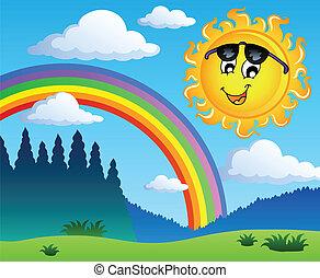 1, arco íris, paisagem, sol