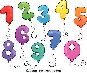 1, balloon, jogo, tema, números