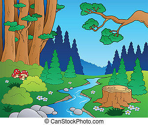 1, caricatura, paisagem, floresta