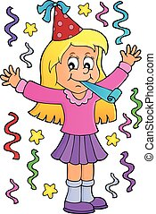 1, celebrando, menina, tema, imagem
