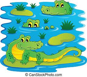 1, crocodilo, imagem, tema
