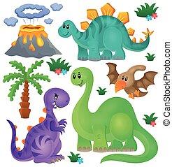 1, dinossauro, tema, jogo