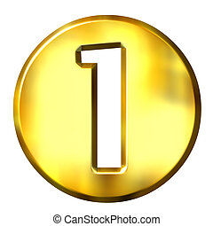 1, dourado, 3d, número, formulou