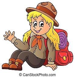 1, escoteiro menina, tema, imagem