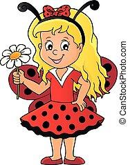 1, menina, imagem, ladybug, tema