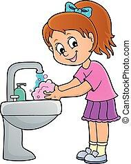 1, menina, lavando, tema, mãos