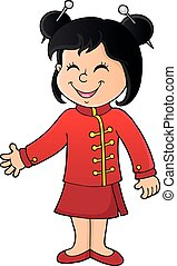 1, menina, tema, imagem, chinês