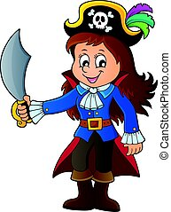 1, menina, tema, imagem, pirata