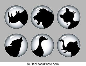 &, 1, silhuetas, pretas, animal, branca