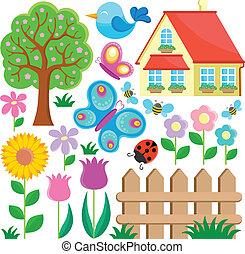 1, tema, jardim, cobrança