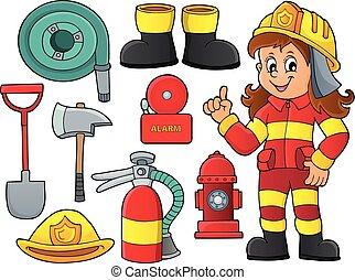 1, tema, jogo, bombeiro