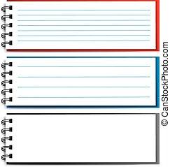 10, -, eps, caderno, vetorial, em branco, abertos