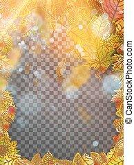 10, frame., folhas, eps, outono, vetorial