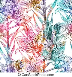 10, padrão, eps, seamless, flowers., vetorial, lírio