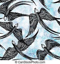 10, padrão, swallows., eps, seamless, vetorial