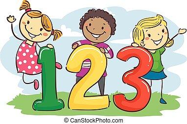 123, vara, crianças