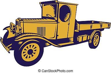 1920s, caminhão, woodcut, pick-up