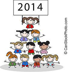 2014, calendário, crianças, feliz