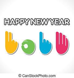 2014, dedo, contagem, criativo, mão