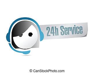24, cliente, hora, serviço, apoio, ilustração
