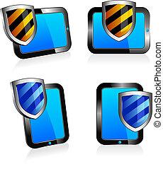 2d, antivirus, escudo, tabuleta, 3d