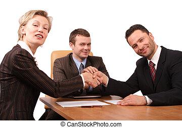 3, aperto mão, pessoas