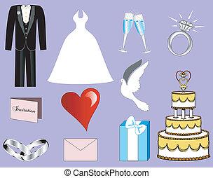3, casório, ícones