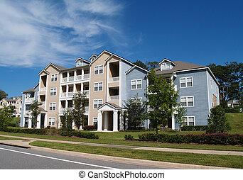 3, condomínios, townhou, história, apartamentos