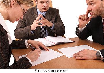 3, reunião, negócio