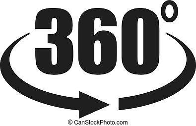 360, vista, grau, ícone