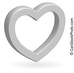 3d, coração, vetorial, lustroso, prata