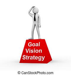 3d, homem, meta, visão, estratégia