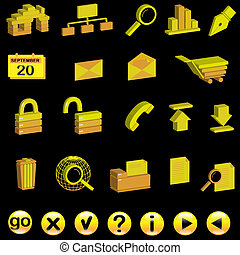 3d, jogo, ícones internet