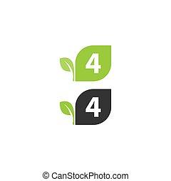 4, desenho, folha, logotipo, número, conceito, ícone