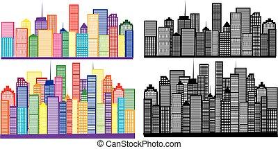 4, gráficos, vetorial, silueta, cidade