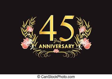 45, ouro, grinalda, aniversário, anos, aquarela, vetorial
