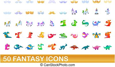 50, jogo, fantasia, ícones, estilo, caricatura