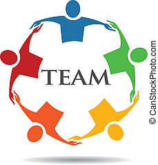 6, equipe, grupo, abraçando, pessoas