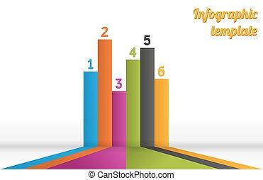 6, infographic, listras, coloridos, modelo